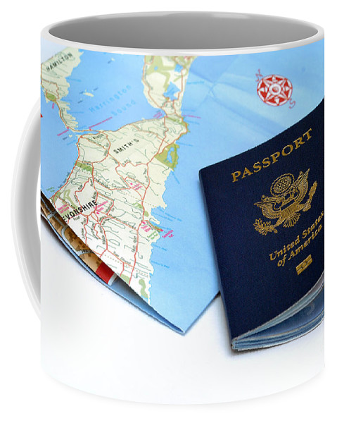 Bermuda Coffee Mug featuring the photograph Passport And Map Of Bermuda by Amy Cicconi
