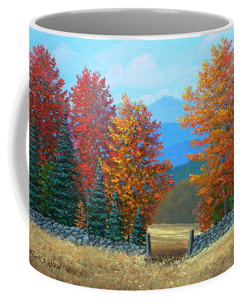 Autumn Coffee Mug featuring the painting Pasture Gate In Autumn by Frank Wilson