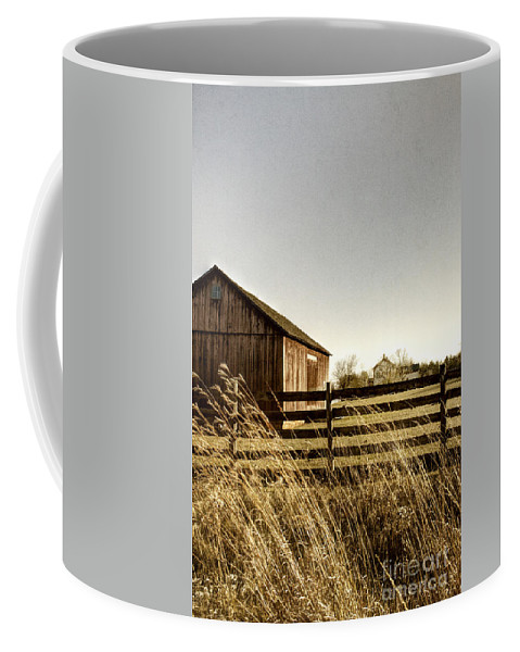 Old; Farm; Barn; Rural; Landscape; Outside; Outdoors; Roof; Country; Countryside; Fence; Barrier; Barricade; Field; Red; Painted; Wood; Door; Wooden; Weeds; Grasses; House; Home; Distance; Sky Coffee Mug featuring the photograph Pasture by Margie Hurwich