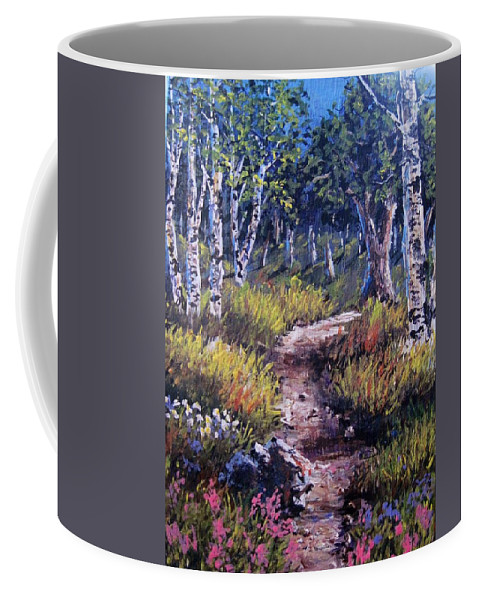 Landscape Coffee Mug featuring the painting Path Thru The Birches by Megan Walsh