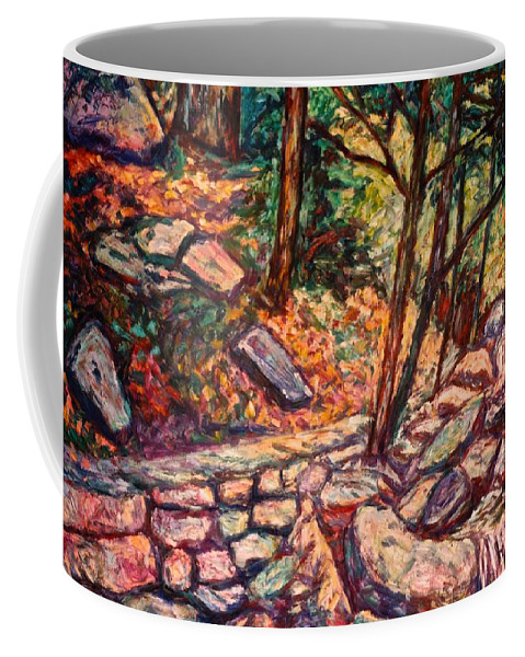 Landscape Coffee Mug featuring the painting Path To The Cascades by Kendall Kessler