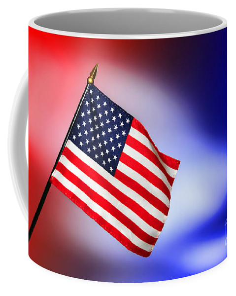 Flag Coffee Mug featuring the photograph Patriotic American Flag by Olivier Le Queinec