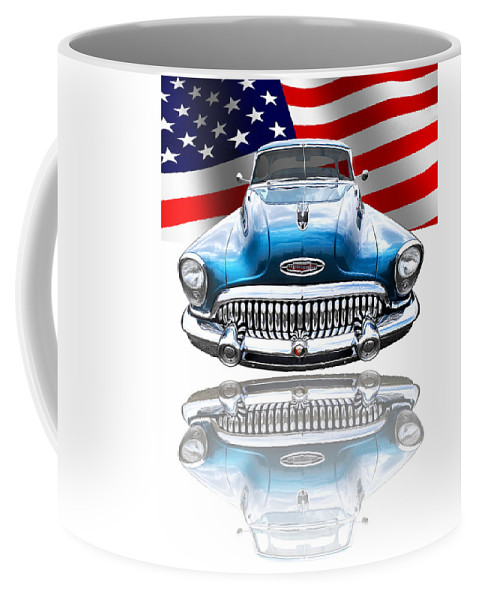 Buick Coffee Mug featuring the photograph Patriotic Buick Riviera 1953 by Gill Billington