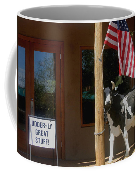 Patriotic Cow Cave Creek Arizona Coffee Mug featuring the photograph Patriotic Cow Cave Creek Arizona 2004 by David Lee Guss