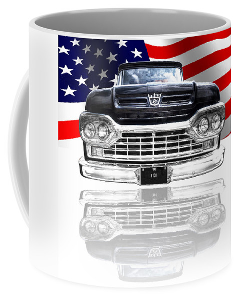 Ford F100 Coffee Mug featuring the photograph Patriotic Ford F100 1960 by Gill Billington