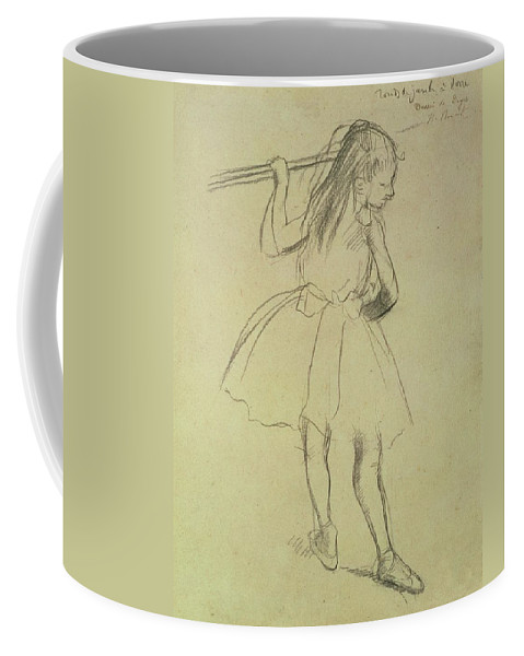 Impressionist Coffee Mug featuring the drawing Girl Dancer At The Barre by Edgar Degas