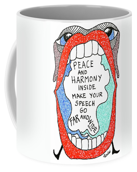 Genia Coffee Mug featuring the drawing Peace And Harmony by Genia GgXpress