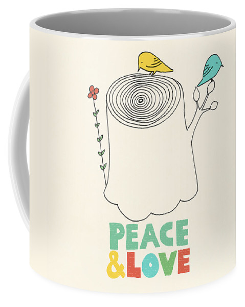 Birds Coffee Mug featuring the drawing Peace and Love by Eric Fan