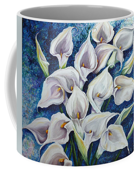 Calla Lilies Painting White Calla Lilies Painting Floral Painting Botanical Painting Flower Painting Blue And White Painting Lily Painting Coffee Mug featuring the painting Peace by Karin Dawn Kelshall- Best