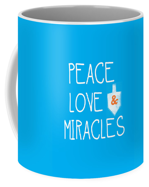 Peace Love And Miracles With Dreidel  Coffee Mug