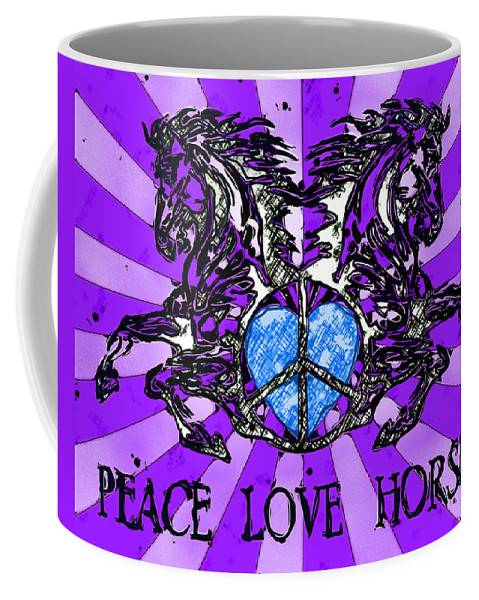 Peace Coffee Mug featuring the digital art Peace Love Horses by David G Paul
