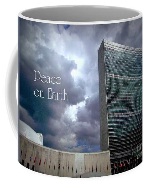 New York Coffee Mug featuring the photograph Peace On Earth - United Nations by Miriam Danar