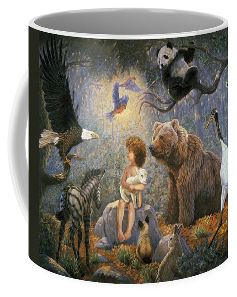 Gregory Perillo Coffee Mug featuring the painting Peaceable Kingdom by Gregory Perillo