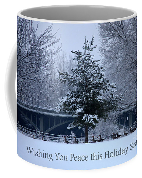 Peaceful Winter Landscape Coffee Mug featuring the photograph Peaceful Holiday Card - Winter Landscape by Carol Groenen