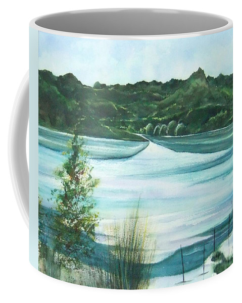 Lake Coffee Mug featuring the painting Peaceful Lake by Debbie Lewis