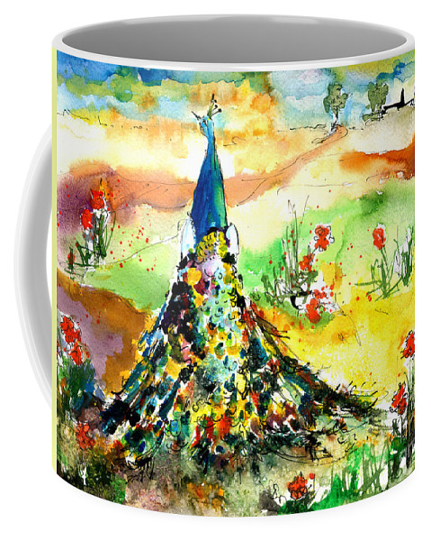 Peacock Coffee Mug featuring the painting Peacock in the Wild by Ginette Callaway