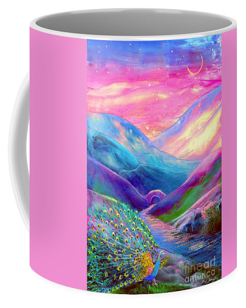 Abstract Coffee Mug featuring the painting Peacock Magic by Jane Small