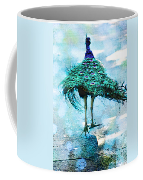 Arboretum Coffee Mug featuring the photograph Peacock Walking Away by Diana Haronis