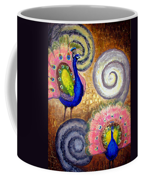 Peacock Coffee Mug featuring the painting Peacock Swirl by Amani Al Hajeri