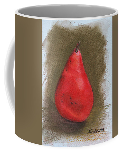 Red Pear Coffee Mug featuring the pastel Pear Study 2 by Marna Edwards Flavell