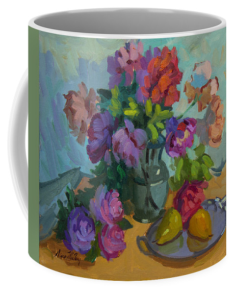 Roses Coffee Mug featuring the painting Pears And Roses by Diane McClary
