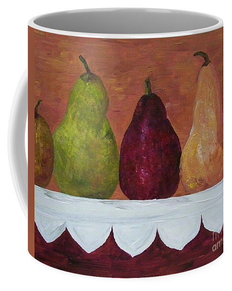 Pear Coffee Mug featuring the painting Pears On Parade  by Eloise Schneider Mote