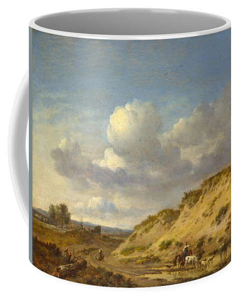 Jan Wijnants Coffee Mug featuring the painting Peasants Driving Cattle And Sheep by Jan Wijnants