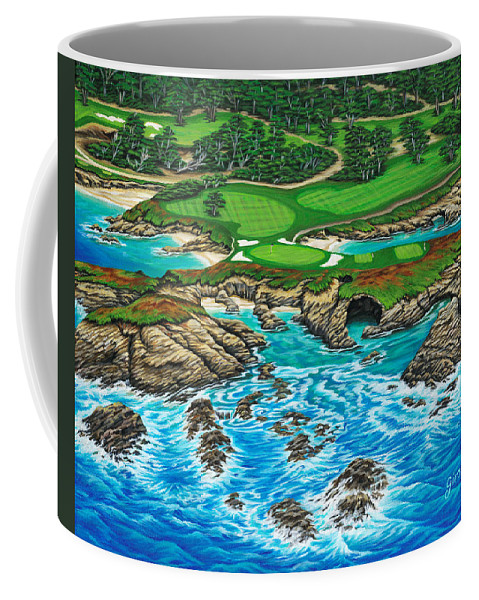 Ocean Coffee Mug featuring the painting Pebble Beach 15th Hole-north by Jane Girardot