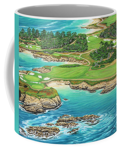 Ocean Coffee Mug featuring the painting Pebble Beach 15th Hole-south by Jane Girardot