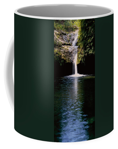 Texas Coffee Mug featuring the photograph Pedernales Twin Falls-vpan by Tom Daniel