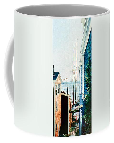 Lunenburg Art Print Coffee Mug featuring the painting Peek At The Bluenose by Hanne Lore Koehler