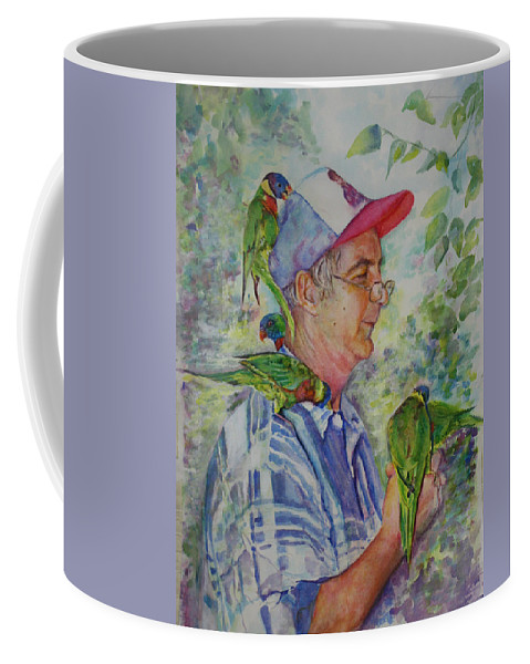Nature Coffee Mug featuring the painting Peekaboo by Mary Beglau Wykes