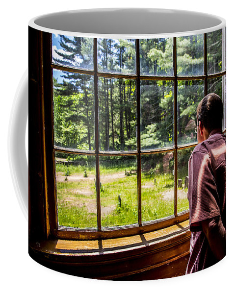 Window Coffee Mug featuring the photograph Peering Out The Window by Karol Livote