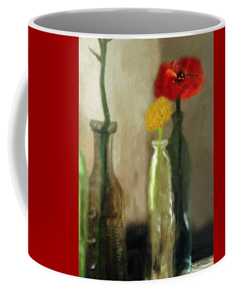 Bottles Coffee Mug featuring the painting Peggy's Flowers by RC DeWinter
