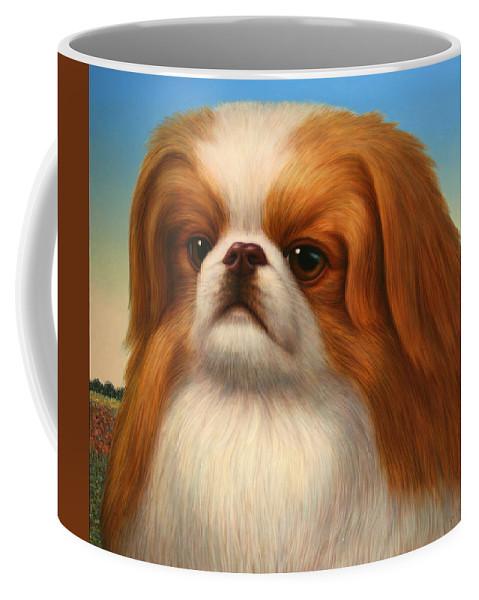 Pekingese Coffee Mug featuring the painting Pekingese by James W Johnson