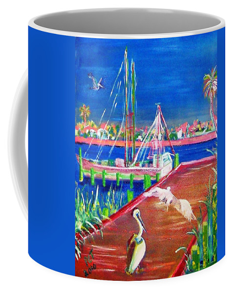 Pelican Coffee Mug featuring the painting Pelican Landing by Patricia Taylor