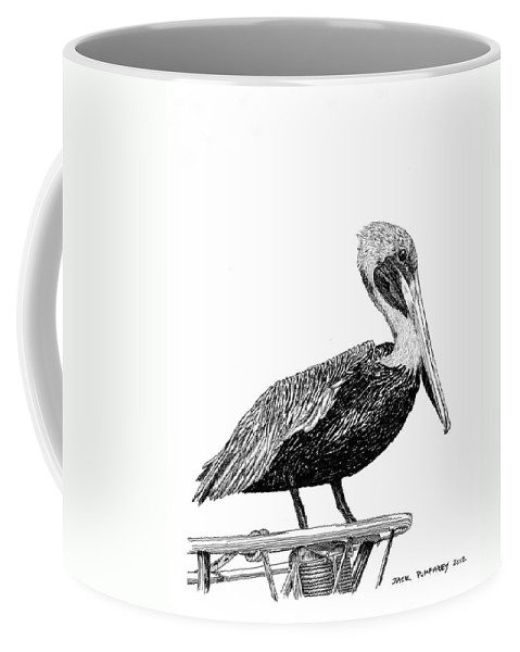 Priced Starting At $ 100.00 To $ 125.00 Coffee Mug featuring the drawing Monterey Pelican Pooping by Jack Pumphrey