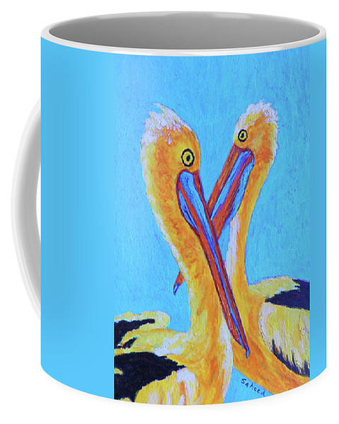 Pelican Coffee Mug featuring the painting Pelican Pals by Margaret Saheed