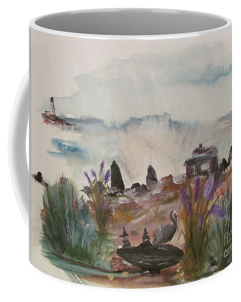 Pelican Coffee Mug featuring the painting Pelican Point by Susan Voidets