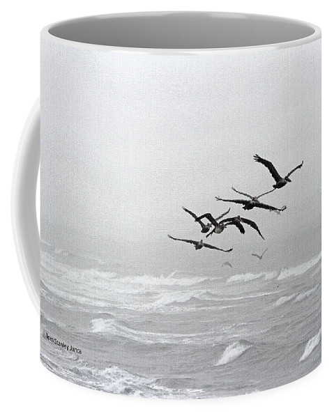 Pelicans Dinning At The Rip Coffee Mug featuring the photograph Pelicans Dinning At The Rip by Tom Janca