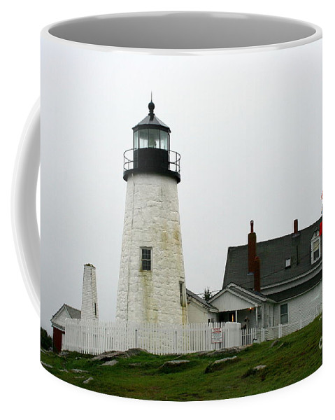 Lighthouse Coffee Mug featuring the photograph Pemaquid Point Light In The Rain - Maine by Christiane Schulze Art And Photography