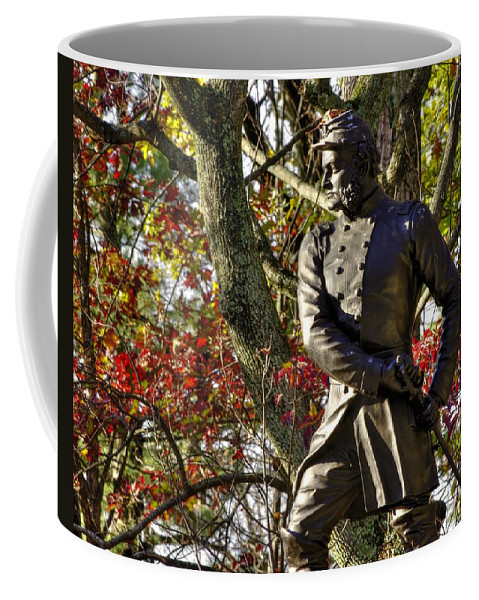 Civil War Coffee Mug featuring the photograph Pennsylvania At Gettysburg - Col Strong Vincent 83rd Pa Volunteer Infantry Close-2b Little Round Top by Michael Mazaika