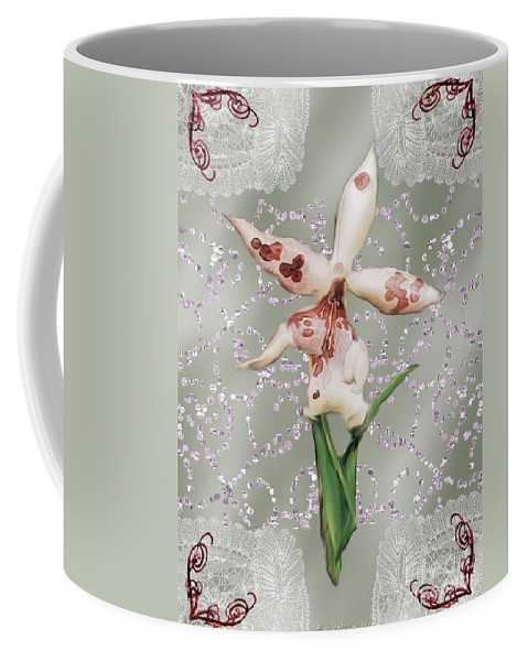 Orchid Coffee Mug featuring the painting Penny Postcard Exotica by RC DeWinter