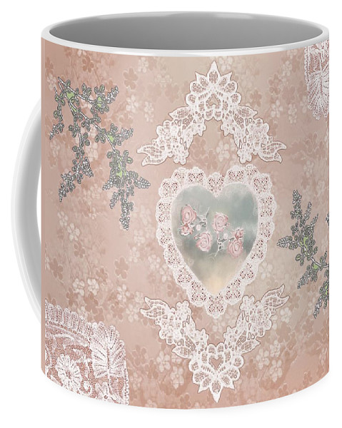 Valentine Coffee Mug featuring the painting Penny Postcard Passionate by RC DeWinter