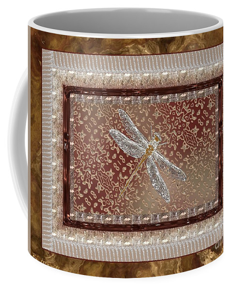 Dragonfly Coffee Mug featuring the painting Penny Postcard Sophisticated by RC DeWinter