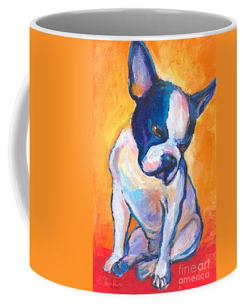 Boston Terrier Dog Painting Coffee Mug featuring the painting Pensive Boston Terrier Dog by Svetlana Novikova