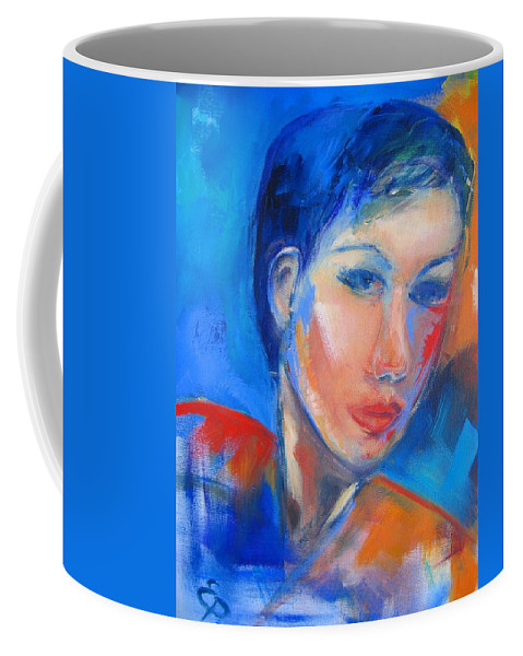Face Coffee Mug featuring the painting Pensive by Elise Palmigiani