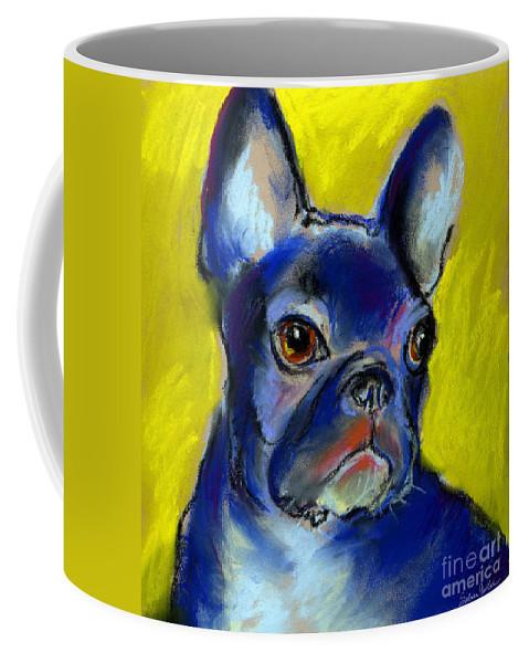 French Bulldog Coffee Mug featuring the painting Pensive French Bulldog Portrait by Svetlana Novikova