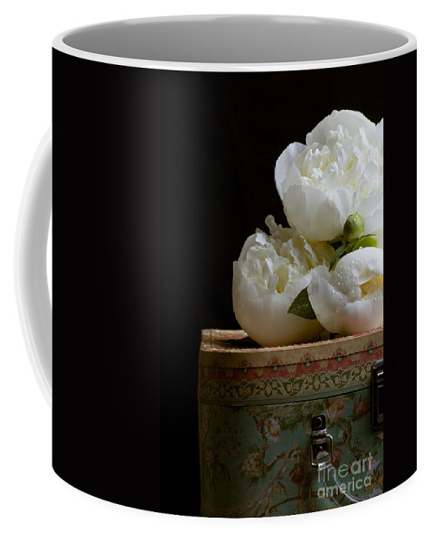 Hat Coffee Mug featuring the photograph Peony Flowers On Old Hat Box by Edward Fielding