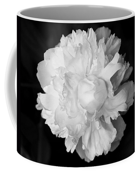 Flower Coffee Mug featuring the photograph Peony In Bw by Deborah Crew-Johnson